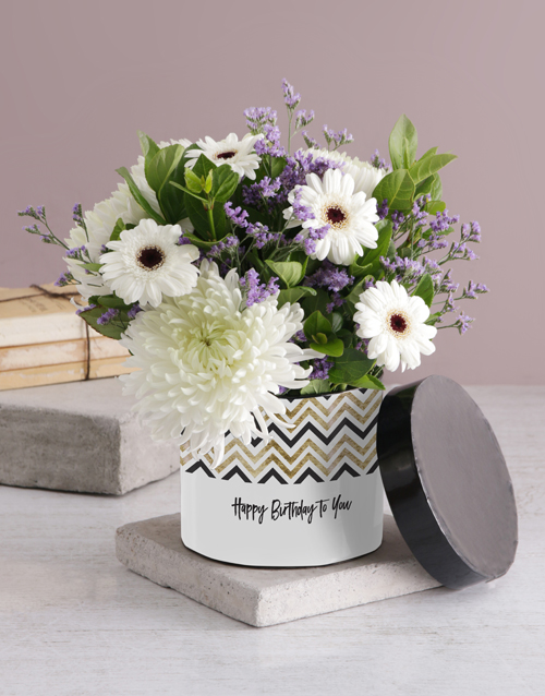 personalised: Lovely Mixed Flowers Hat Box!