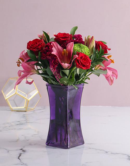 personalised: Mixed Flowers In Purple Vase!
