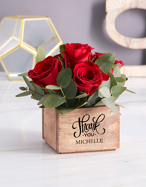 personalised: Personalised Red Rose Heaven In Wooden Box!