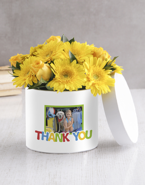 personalised: Personalised Thank You Mixed Flowers Hat Box!