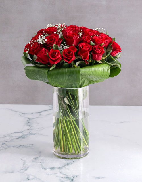 anniversary: Romantic Red Rose Halo Arrangement!