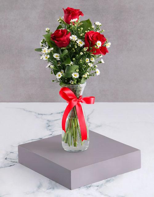 colour: Satin Red Rose Arrangement!