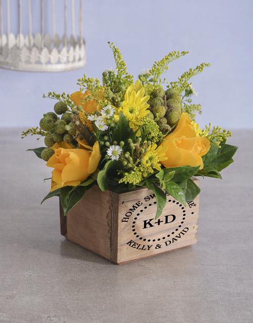 vase: Personalised Home Sweet Mixed Flowers!