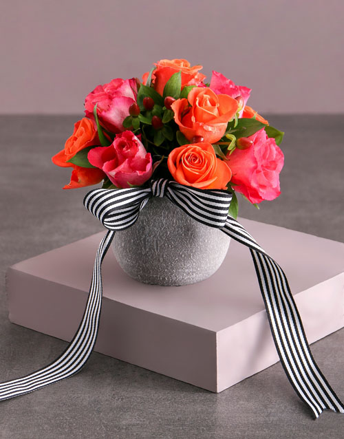 anniversary: Cerise and Orange Rose Arrangement!