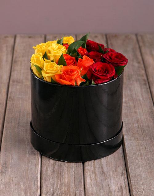 anniversary: Sunrise Roses in Hat Box!