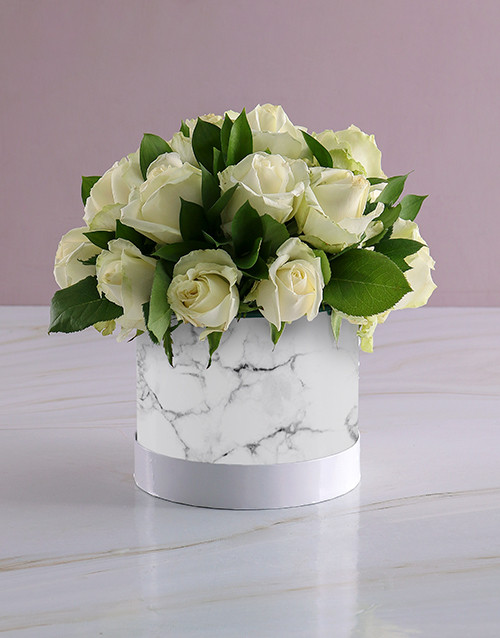 roses: Snow White Roses In Hat Box Bunch!