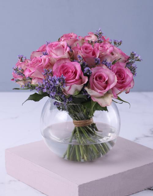 anniversary: Pink Petals In Vase Gift!
