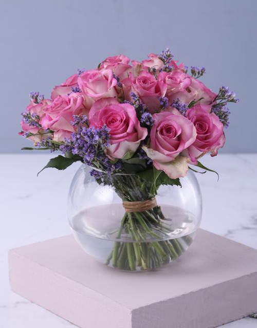 roses: Pink Petals In Vase Gift!