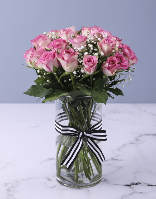 roses: Pretty In Pink Rose Vase Arrangement!