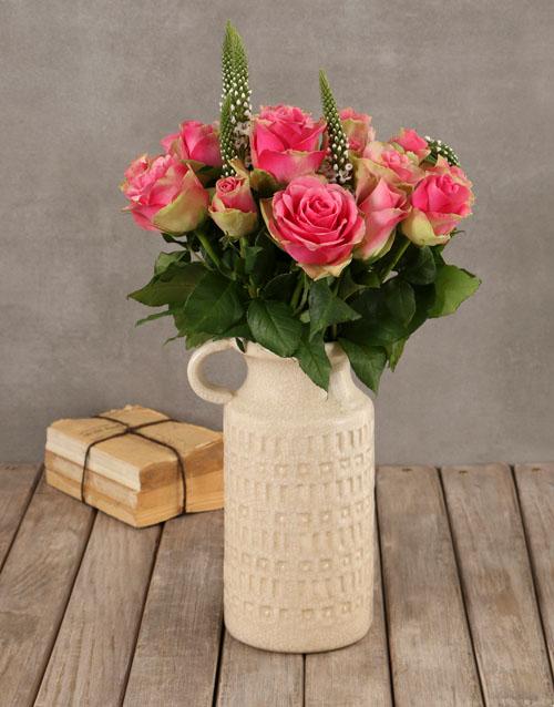 engagement: Classy Roses in Ceramic Vase!