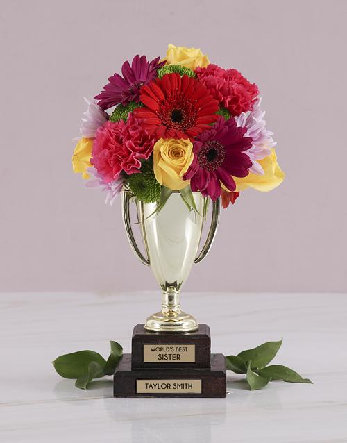 colour: Personalised Best Sister Trophy Arrangement!