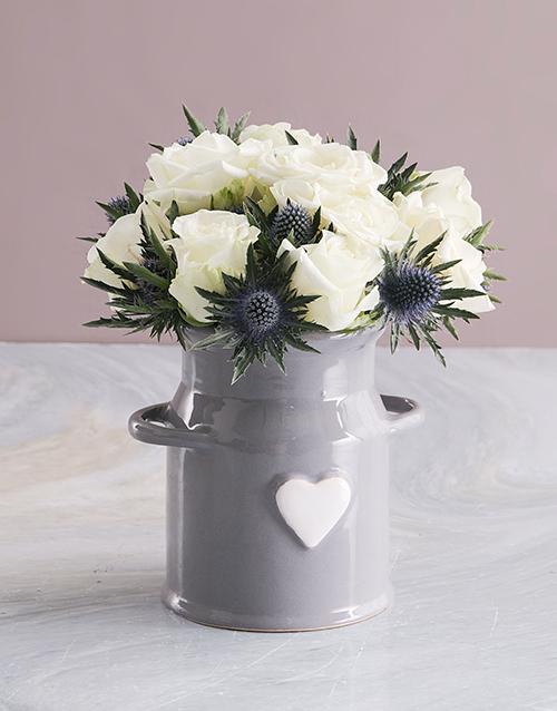 anniversary: White Roses In Ceramic Milk Can!