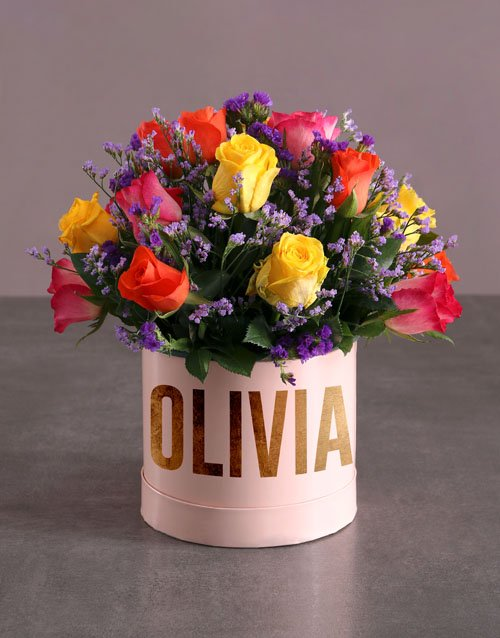 personalised: Personalised Mixed Flowers In Hat Box!