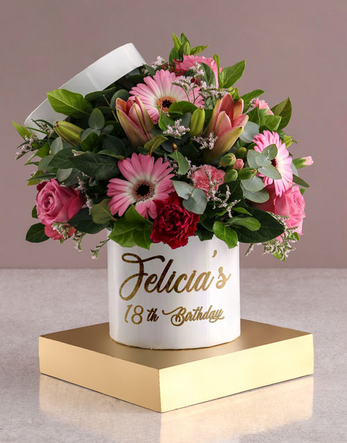 personalised: Personalised Birthday Mixed Flowers In Hat Box!