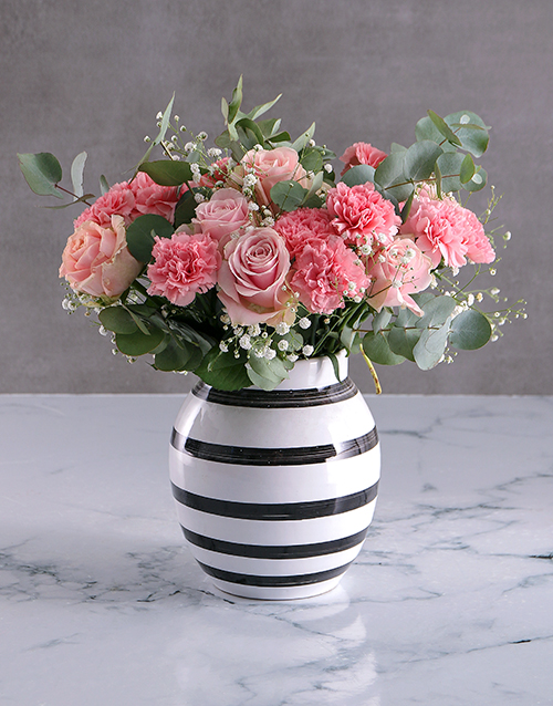 sympathy: Perfectly Pink Blooms In Striped Vase!