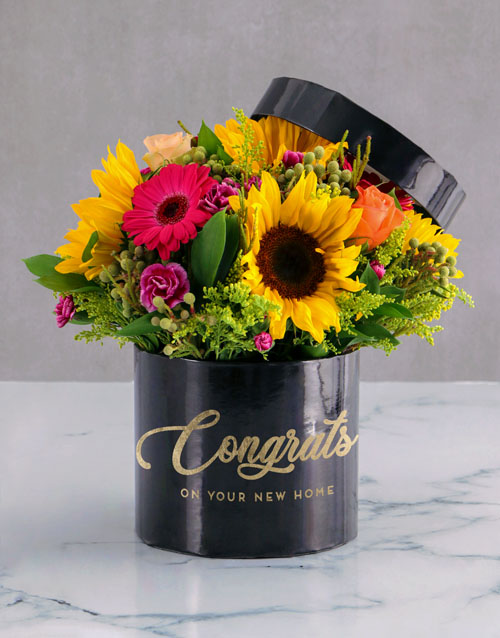 anniversary: Congrats Mixed Flowers Hat Box!
