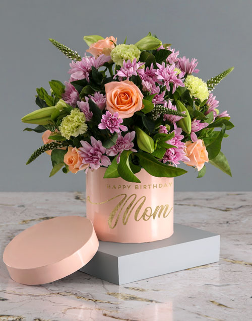 in-a-box: Birthday Mixed Flowers In Pink Hat Box!