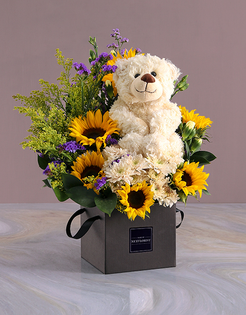 get-well: Sunflower And Teddy Occasions Box Gift!