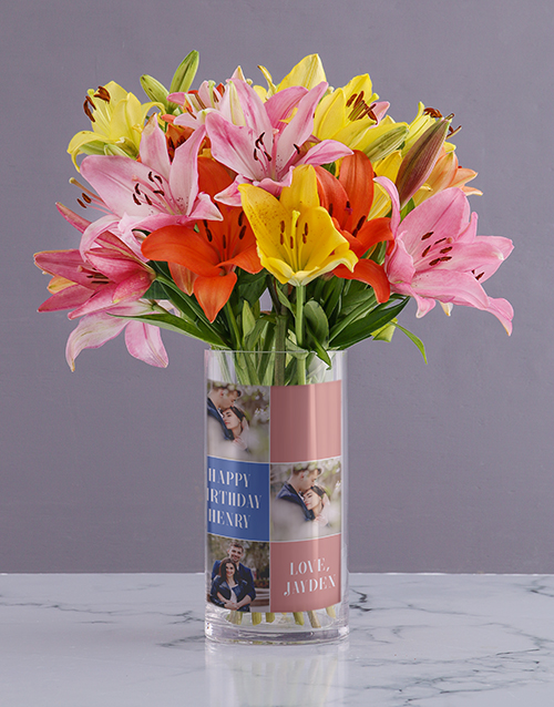 personalised: Mixed Lilies Birthday Photo Vase!