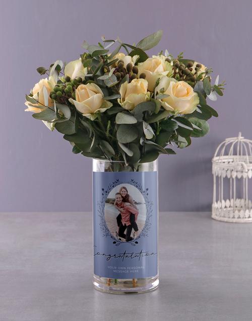 personalised: Divine Roses in Photo Vase!