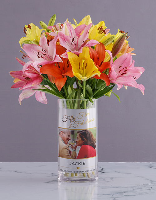 vase: Golden Mixed Lily Blossoms!