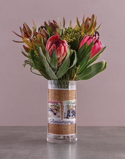 vase: Anniversary Protea Blossoms!