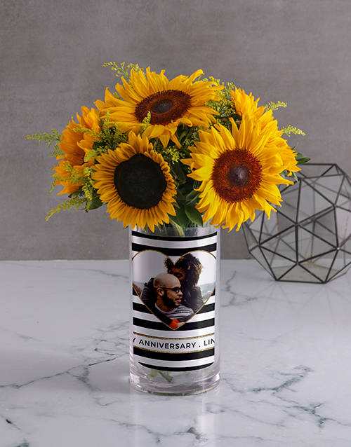 vase: Anniversary Sunflower Photo Vase!