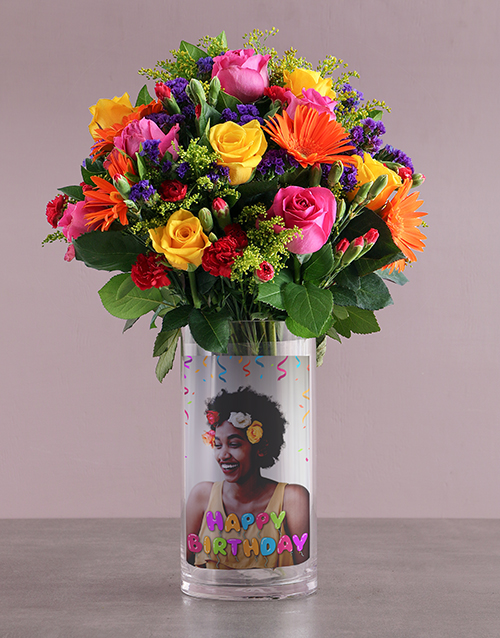 vase: Happy Birthday Mixed Blossoms !