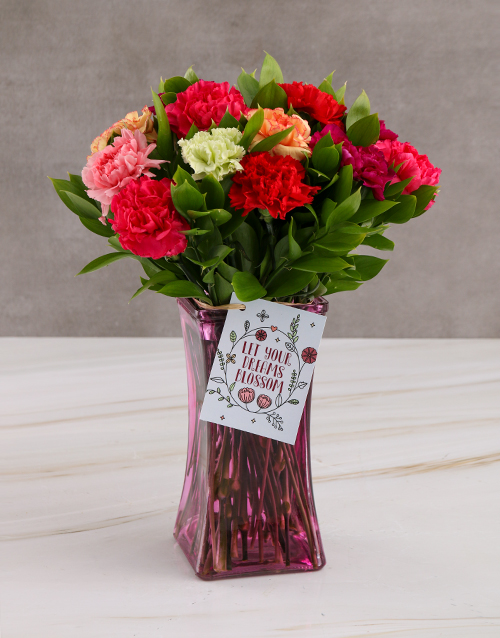 teachers-day: Blossoming Carnation Blooms In Vase Gift!