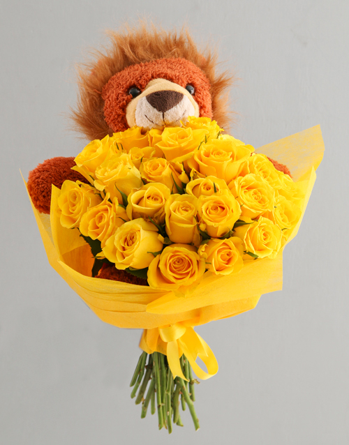 baby: Sunny Day Roses And Teddy Gift For Baby!