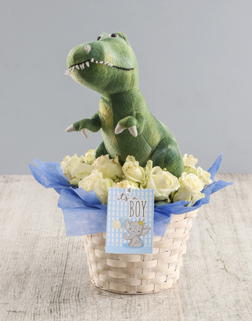 baby: White Rose And Teddy Delight For Baby Basket!