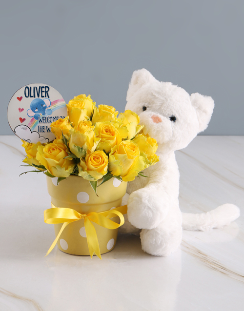 baby: Radiant Yellow Rose And Teddy Delight!