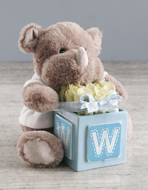 baby: Welcome Home Baby Teddy And White Rose Gift!