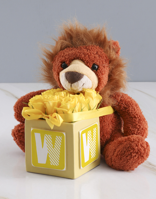 baby: Welcome Home Baby Teddy And Yellow Rose Gift!