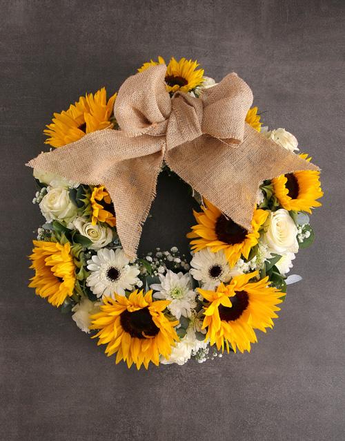 birthday: Sunny Day Sunflower Wreath Arrangement!