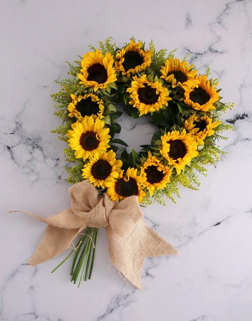 flowers: Sunflower Heart Wreath Arrangement!