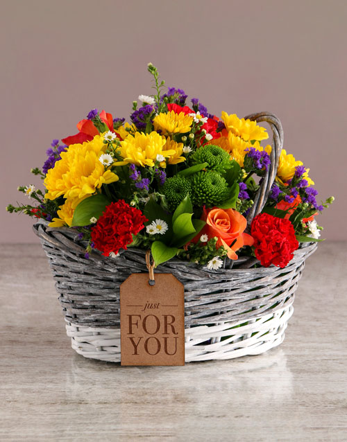 sympathy: Mixed Flowers In Willow Basket!