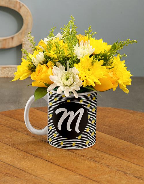 engagement: Personalised Initial Flowers In Mug!