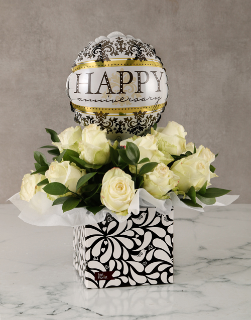 colour: Anniversary White Roses in Box with Balloon!