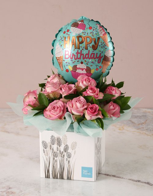 colour: Pink Birthday Roses and Balloon Arrangement!
