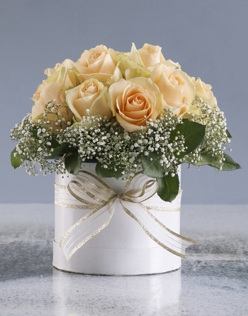 sympathy: Peach Roses In White Round Box!