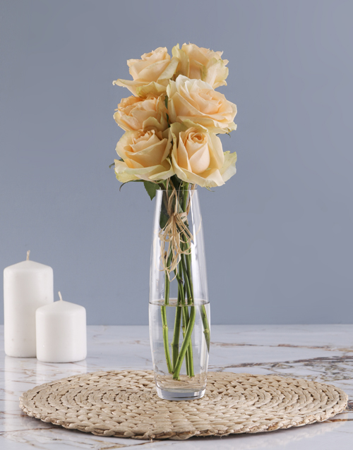 vase: Peach Roses In Clear Bullet Vase!
