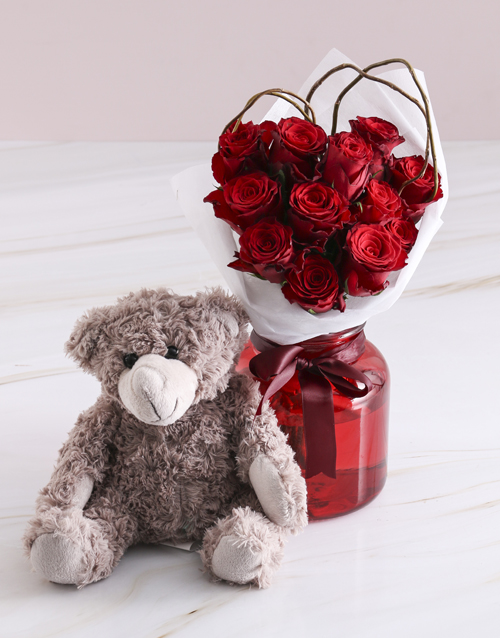 colour: Radiant Red Roses With Brown Teddy Bear!