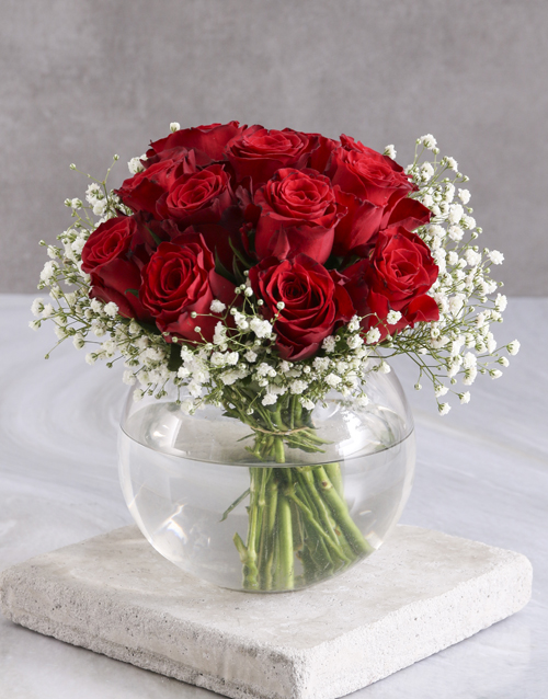 colour: Red Roses In Fish Bowl!