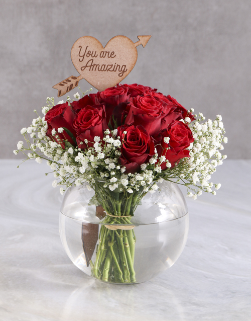 colour: Amazing Red Roses In Fish Bowl!