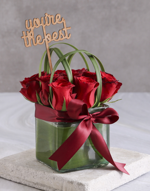 flowers: The Best Red Roses In Square Vase!