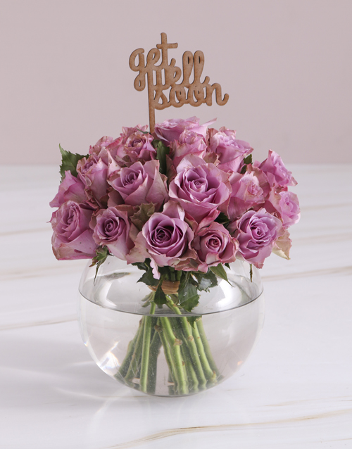 get-well: Get Well Soon Lilac Roses In Fish Bowl!