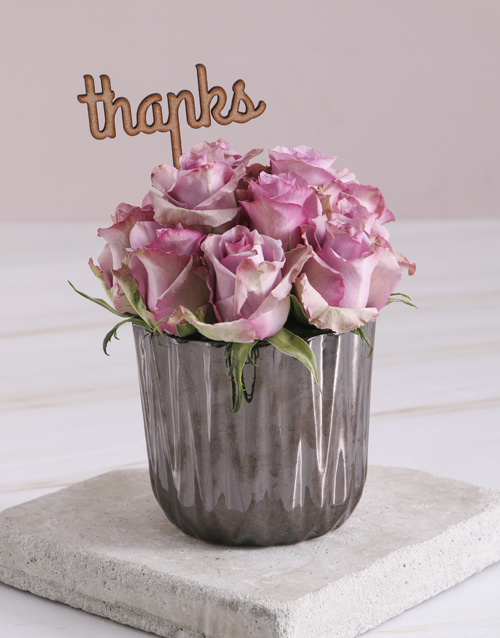 get-well: Thank You Lilac Roses In Bronze Vase!