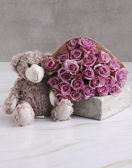 roses: Lilac Roses With Teddy Bear!