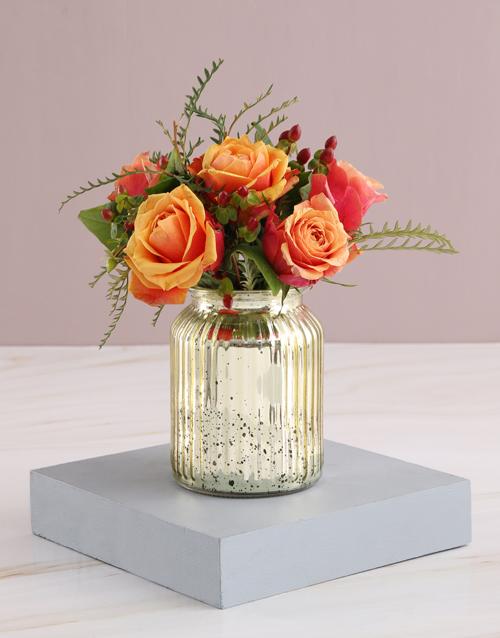 roses: Cherry Brandy Roses in Glowing Vase!